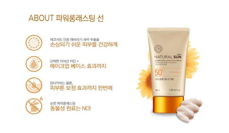 Kem chống nắng The Face Shop Natural  Sun Eco Power Long - Lasting Sun Cream SPF50+ PA+++