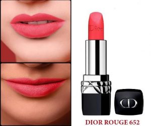 Son Dior Rouge màu 652 Euphoric Matte – Bright Coral hồng baby